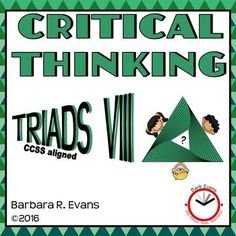 TRIADS VIII provides 20 more  triad challenges that will promote critical thinking, HOTS, and word relations.  Kiddos beg for more.  $
