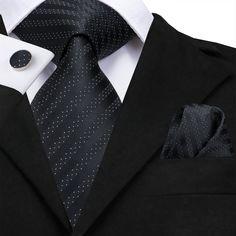 Black Polka Dot Striped Mens's Tie Pocket Square Cufflinks Set – ties2you