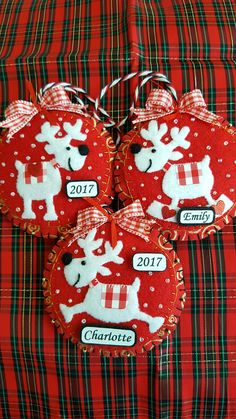 Felt Reindeer Ornaments-Red and White Reindeer felt & fabric Christmas ornaments w plaid accent-Handmade Reindeer Christmas tree ornaments-