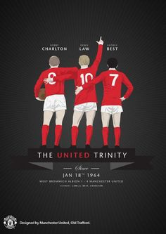 Fifty years ago today, Bobby Charlton, Denis Law & George Best played together for the first time. The United Trinity was born ! Visit Manchester, Manchester United Wallpaper, Manchester United Legends, Manchester United Football, Forever Manchester, Bobby Charlton, Eric Cantona, West Bromwich, Football Pictures