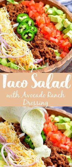 Avocado Recipes, Salad Recipes, Easy Salads, Summer Salads, Big Salads, Fruit Salads, Summer Food, Avocado Ranch Dressing, Dressing For Taco Salad