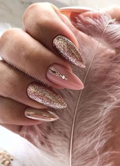 natural square and almond nails design summer short nails - . natural square and almond nails design summer short nails - - Manicure Nail Designs, Fall Nail Art Designs, Short Nail Designs, Gold Nail Art, Rose Gold Nails, Glitter Nails, Pink Glitter, Almond Nails Designs Summer, Fall Acrylic Nails