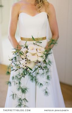 This Unique Bouquet of Mushrooms | Real weddings | Styling & Coordination by Celeste Styled Events | Wedding Dress by Stephanie Allin | Photographer by Jenni Elizabeth