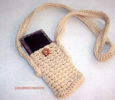 Crochet Cell Phone Holder with Strap, Cell Phone Case, Crochet Carrier for Cell Phones, Phone Sling by SandeesKreations on Etsy