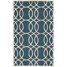 Rizzy Home Monroe DK. Teal Wool/Viscose Hand-tufted Geometric Rug (3' x 5') (ME314A DK. Teal 3' X 5' Tufted Geometric Rugs), Green, Size 3' x 5' #GeometricRugs