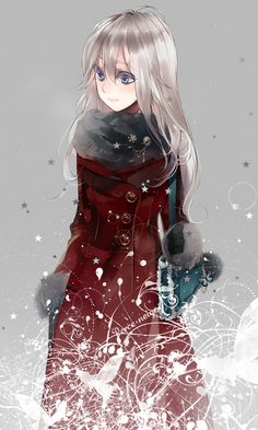 anime girl w/ silver hair, red coat