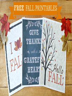 I love these fall printables.  Great to decorate with and FREE!