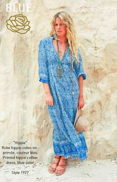 HIPPIE printed hippie cotton dress Blue Hippy Summer 2015 Collection #boho #gypset #hippy #blue #southoffrance #handprinting #bohemian #vintage #bohochic #bohostyle #boholiving #bohemianstyle #gypsy #hippie #travel #beach #french #france #wanderlust