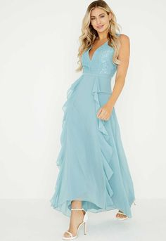 382e790b6a145 Issa Olivia Deep V Maxi Bridesmaid Dress, Blush/Pink | Daydreaming ...