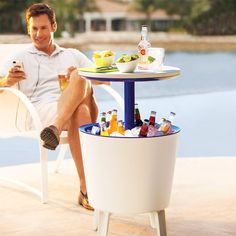 Outdoor cooler & patio table