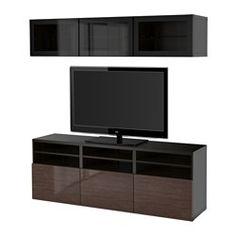 BESTÅ TV storage combination/glass doors - black-brown/Selsviken high-gloss/brown clear glass, drawer runner, push-open - IKEA