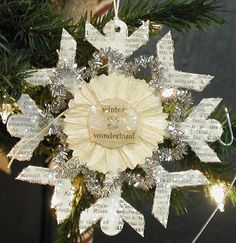 Book page ornaments for Christmas