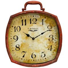 Distressed Red Metal Wall Clock with Handle