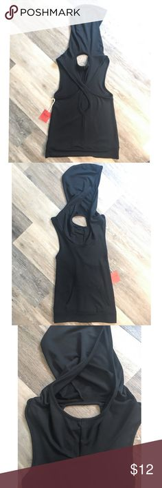 Adorable Sport Criss Cross Tank Top Super cute and comfy black hooded tank top with open criss cross back & large pocket in front. Size Small. Brand new with tags. Mossimo Supply Co. Tops