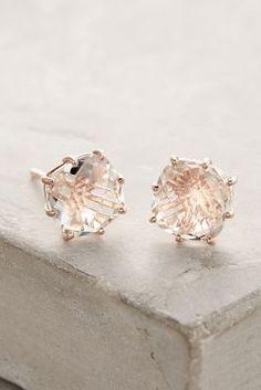 14k Gold White Topaz Earrings