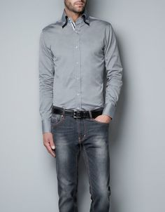 Structured Shirt with Contrasting Colors, and I love the wash on the jeans!