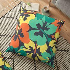 """""""Flower Print, Flower Pattern"""" Floor Pillow by MsD7   Redbubble Floor Pillows, Throw Pillows, Cotton Tote Bags, Flower Prints, Flower Patterns, Pillow Covers, Flowers, Art, Art Background"""
