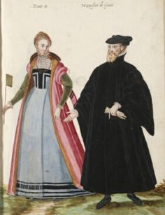"I love her blue dress and the lovely dramatic black guards. And such a lovely little apron too. ""Dame et Magnifico de Genes"" Lady and 'Magnificent' of Genoa, Italy? D'Heere, Lucas. 1575, page 22 http://adore.ugent.be/OpenURL/app?id=archive.ugent.be:1EEACAD8-B1E8-11DF-966C-0D0679F64438type=carousel"