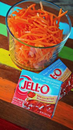 1 bag of shredded carrots and 2 boxes of jello. I like to use strawberry, cherry, or orange for the jello flavor. The carrots soak up the flavor of the jello and taste like candy!