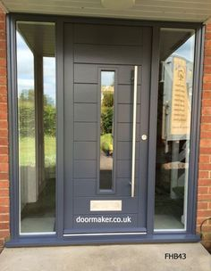 contemporary door, contemporary doors oak, modern front doors, modern entrance doors, contemporary f Grey Front Doors, Front Door Porch, Front Door Entrance, House Front Door, House With Porch, House Entrance, Porch Uk, Entry Doors, Garden Entrance