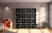 "It says ""Read your book case"" - but these legible bookcases let you spell out anything with shelving!"