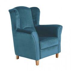 Ohrenbackensessel ' Agnetha ' von Max Winzer - Trendiger Retro-Sessel mit Velours Polsterstoff - 13 Farben wählbar, Farbe:Petrol