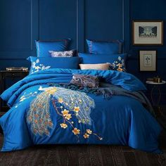Bed Linen And Curtain Sets Satin Bedding, Cotton Bedding Sets, Queen Bedding Sets, Luxury Bedding Sets, Blue Bedding, Comforter Sets, King Comforter, Linen Bedding, King Size Duvet Covers