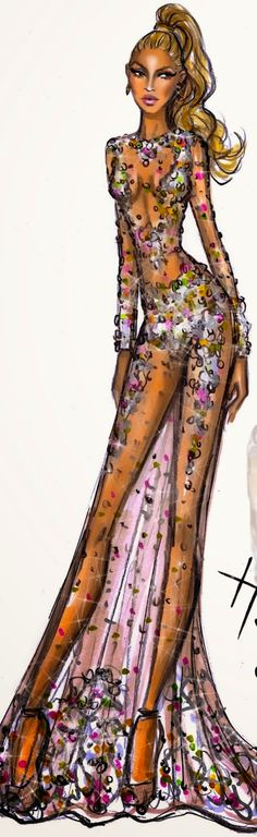 Hayden Williams illustration of Beyonce in her Givenchy, 2015 Met Gala | House of Beccaria~
