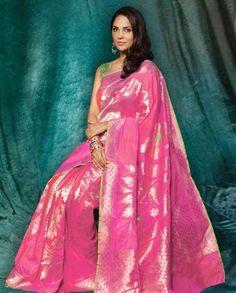Rose Pink Sari by Lara Dutta Bollywood Designer Sarees, Indian Designer Sarees, Banaras Sarees, Silk Sarees, Lara Dutta, Indian Goddess, Traditional Sarees, Indian Ethnic Wear, Indian Fashion