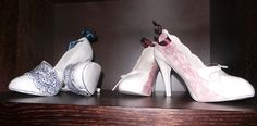 No. 31: Maggie O'Connor. Walk In My Shoes.  Slip Cast Ceramic, Ribbon. €95 per pair.
