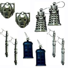 Doctor Who – English Pewter Earrings-I have the Sonic Screwdrivers-they have a green gem on the end