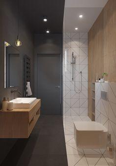 Piccolo bagno scandinavo estremamente originale in combinazione di colori bianco e nero - casa moderna