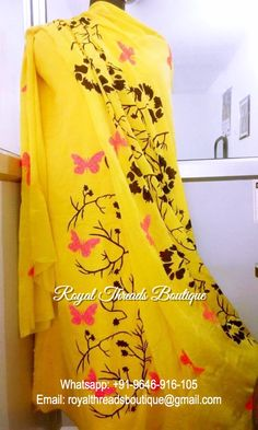 Delightful Hand Painted Cotton Silk Suit in Yellow Color With Dupatta Dress Indian Style, Indian Dresses, Indian Outfits, Indian Attire, Indian Wear, Hand Painted Dress, Painted Clothes, New Designer Dresses, Salwar Dress