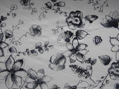 Granatowe kwiaty - Dzianiny Sklep