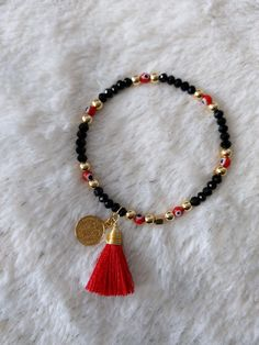 Tassel Necklace, Beaded Bracelets, Evil Eye Bracelet, Rakhi, Turquoise Beads, Bracelet Designs, Crafts, Diy, Beauty