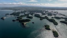 A nice aerial view of the Hundred Islands natural park in the Pangasinan province, Philippines.