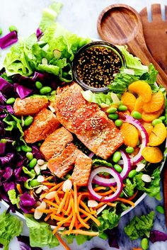Asian Pan Seared Salmon Salad is bright and vibrant and complete with an amazing honey sesame dressing that takes this salad to a whole new level of delicious! Are you guys ready for one of the best salads that you will ever make? Seriously though. You guys know me all too well by now and my love …