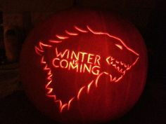WINTER IS COMING  from  Game of Thrones  Halloween nerdy geeky Pumpkin carving   I made the pattern myself