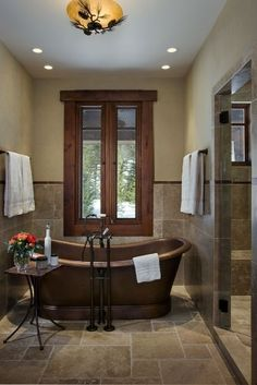 Dream Bathroom Brick Wall And Deep Stand Alone Tub