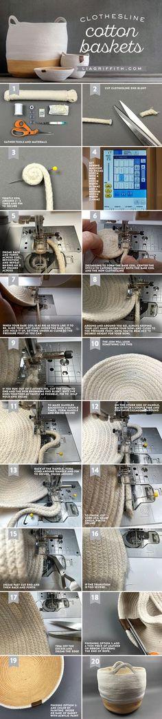 DIY Cotton Clothesline Baskets