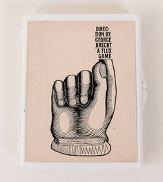 George Brecht's 'Directions/A Flux Game' from Opaque white plastic box with George Maciunas designed label: contains 1 printed image of a hand adhered to the bottom of box. Fluxus Movement, Joseph Kosuth, Jasper Johns, Ex Libris, Land Art, Pop Art, Contemporary Art, Black And White, Prints