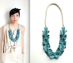 New Origami Hana Rope Necklace  Seafoam Green by HOMAKO on Etsy, $60.00