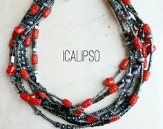 Idee regalo per moglie, gioielli in pietre dure, gioielli dichiarazione, collana di corallo rosso, rosso collana per le donne, gemme, Boho corallo collana, collana di perline