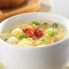 Loaded Baked Potato Chowder - The Pampered Chef® One of my favorites. It tastes like it took a long time to make. I have made it according to the recipe and I have substituted skim milk and low fat cream cheese and you can't tell the difference.