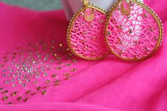Quilled Earrings in Pink and Gold by SreeQuilling on Etsy