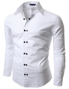 Doublju Men's Casual Long Sleeve Double Button Dress Shirt WHITE #doublju
