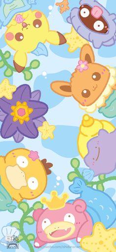 Cute Pokemon Wallpaper, Cute Patterns Wallpaper, Kawaii Wallpaper, Wallpaper Iphone Cute, Cute Cartoon Wallpapers, Arte Do Kawaii, Kawaii Art, Doremi Anime, Chibi