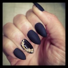 """Matte black OPI I called them """"Mercy"""" and gold foil on shiny nail"""