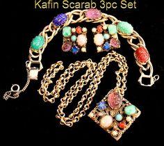 Vintage Rare Rare 50s Kafin Scarab Carved Art Glass Necklace Earrings & Bracelet