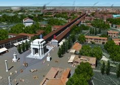 Aerial view from southeast of the Arch of Maximian and the Via Porticata. Old Images, Ancient Rome, Byzantine, Roman Empire, Aerial View, History, World, Bella, Computer